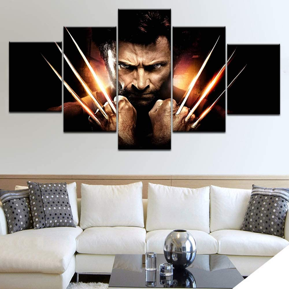 Wall Decor Canvas Painting Logan Wolverine Claw Movie Characters Hugh Jackman 5 Pieces of Art Wallpaper for Home Living Room Decoration