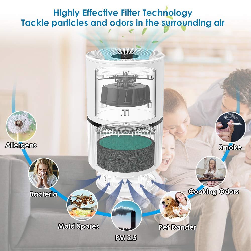 f/ür Allergiker Perfekt gegen Staub und Haustier-Allergene Raucher Asthma Luftreiniger Air Purifier Ionisator mit HEPA-Kombifilter//5-Stufen-Filtrierung mit 99,97/% Filtrationsleistung /mit LED