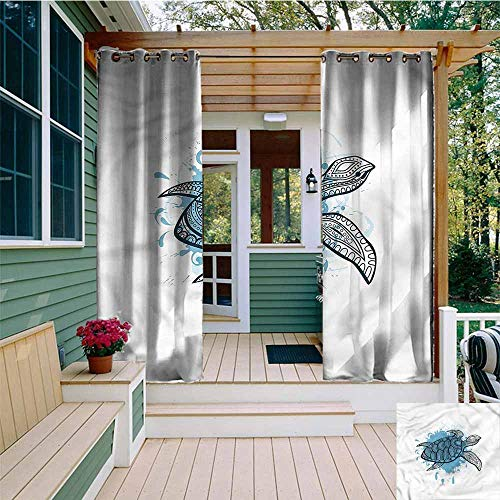 Beihai1Sun Outdoor Grommet Window Curtain,Turtle Doodle Drawing Paint Splash,Waterproof Patio Door Panel,W108x84L
