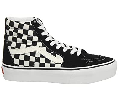 Vans Women's Sk8 Hi Platform 2.0 Checkerboard Suede/Canvas Trainer True  White-White-8