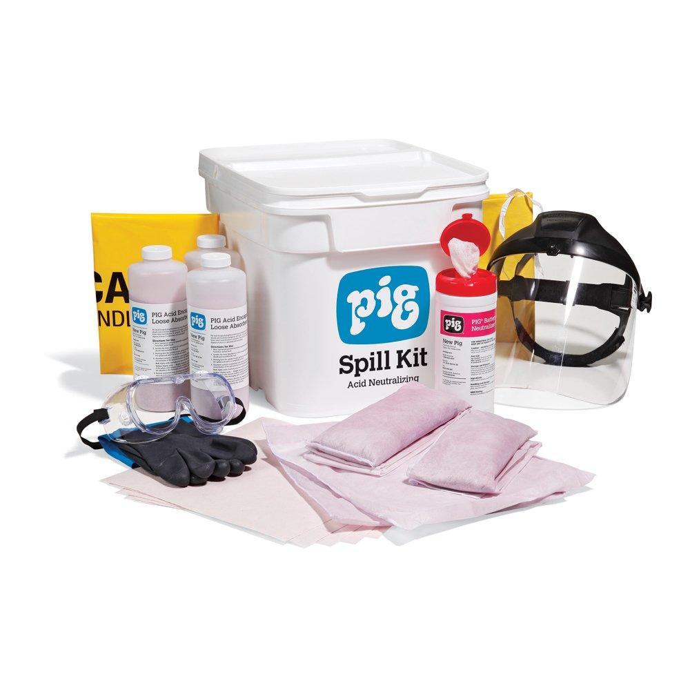 New Pig Acid Neutralizing Spill Kit in Bucket, Absorbs Acids, 4-Gallon Absorbency, KIT318