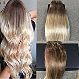 """[Full Head Set]Full Shine 16"""" 7 Pieces per Set 120 Gram Remy Human Hair Clip in Hair Extensions Colour #6 And Colour #613 Blonde Ombre Hair Weft with Clips 100% Real Human Hair Extension"""