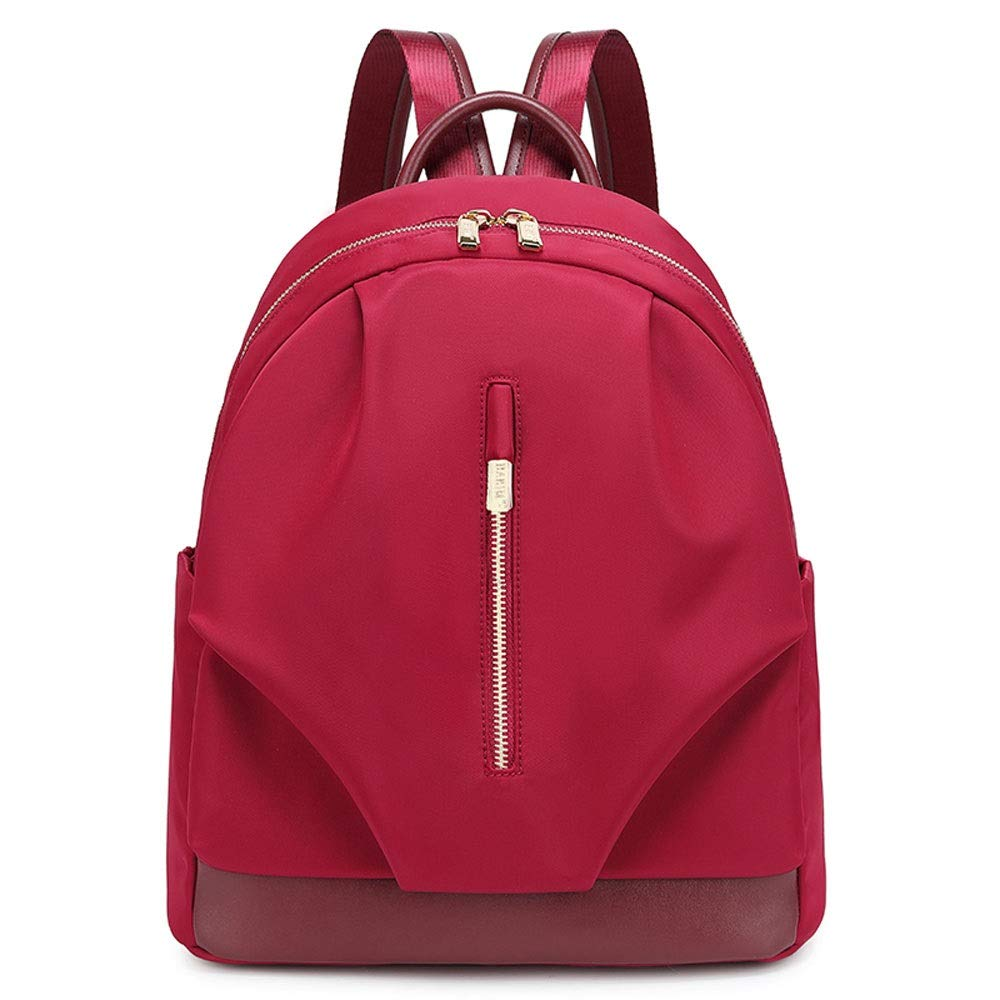 Red DJSkd Simple Solid color Oxford Cloth Large Capacity Casual Backpack Wild Fashion Lightweight Bag (color   Black)