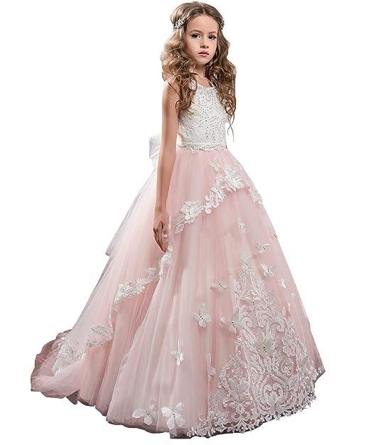 Pageant Wedding Flower Girl Princess Dress 3 4 5 6 7 8 10 12 14 16 Blush Pink