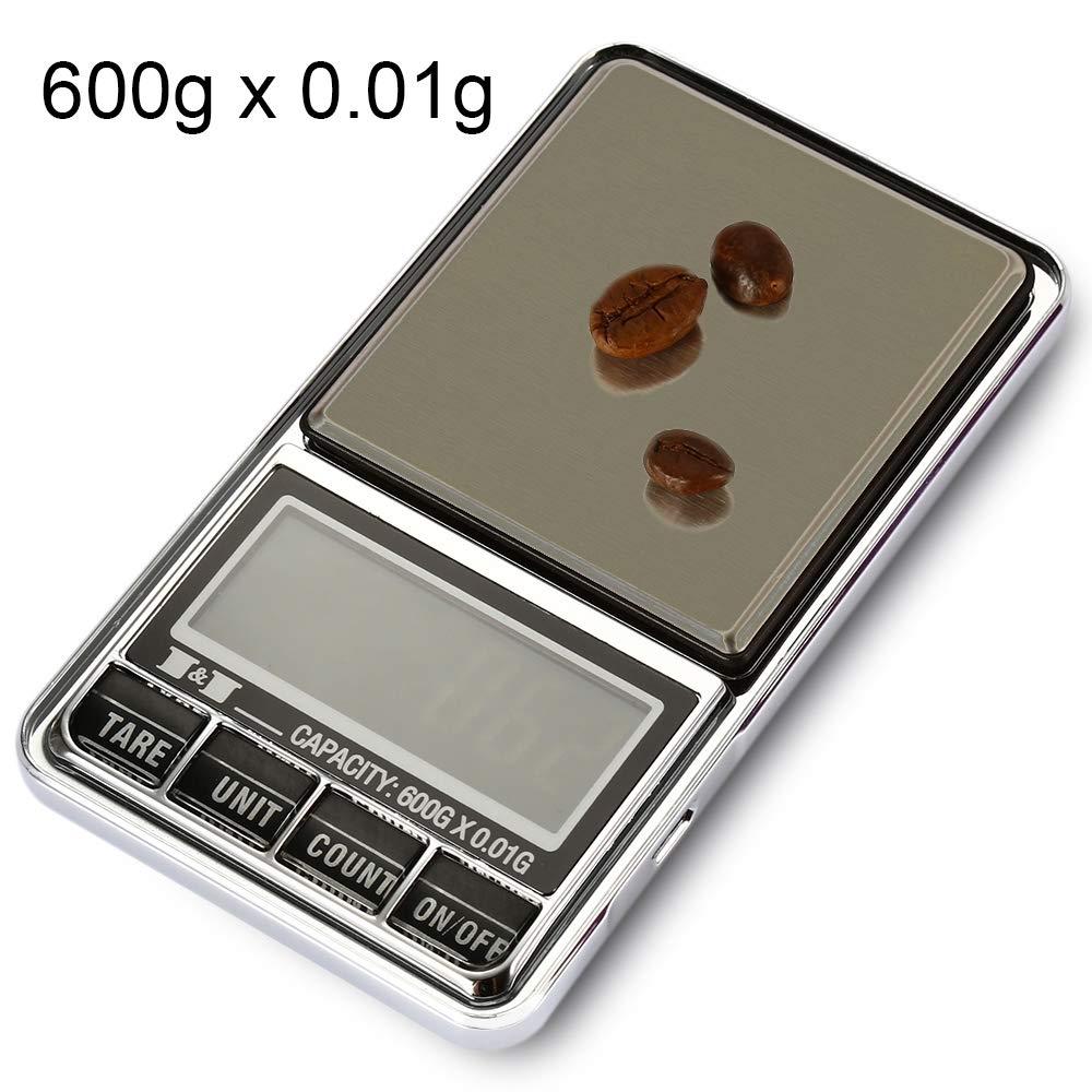 Xiaochou@sl 600g x 0,01 g di bilancia elettronica digitale ad alta precisione con schermo LCD da 2,0 pollici, dimensioni: 12 * 6.5 * 1.6 cm Portatile