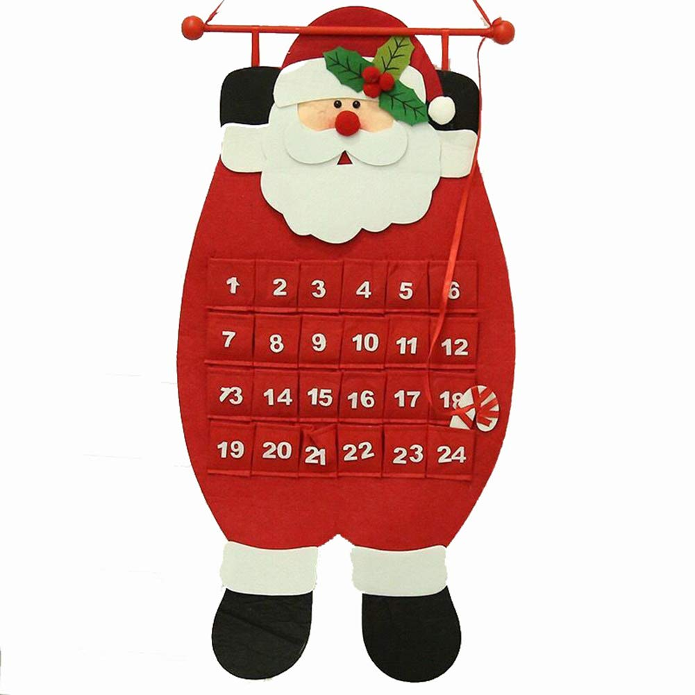 Slendima 27.56'' x 12.99'' Lovely Santa Claus Snowman Deer Christmas Advent Calendar Home Wall Door Hanging Decor Santa Claus