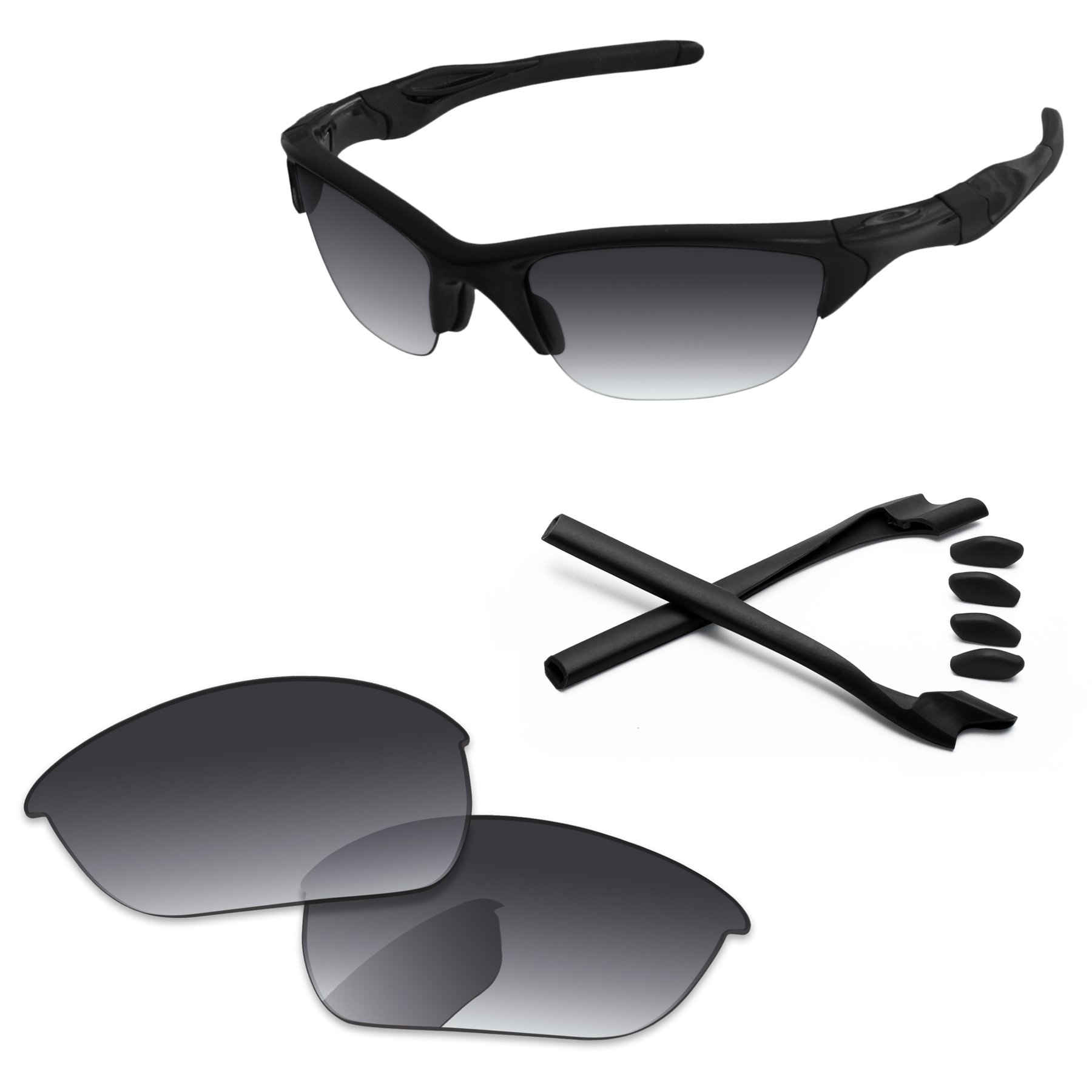 PapaViva Replacement Lenses & Rubber Kits for Oakley Half Jacket 2.0 Grey Gradient - Polarized