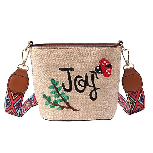 ec1da7ca9f21e QZUnique Women s Embroidered Floral Bucket Bag Crossbody Bag Wide Strap  Shoulder Bag Crochet Handbag Purse Khaki