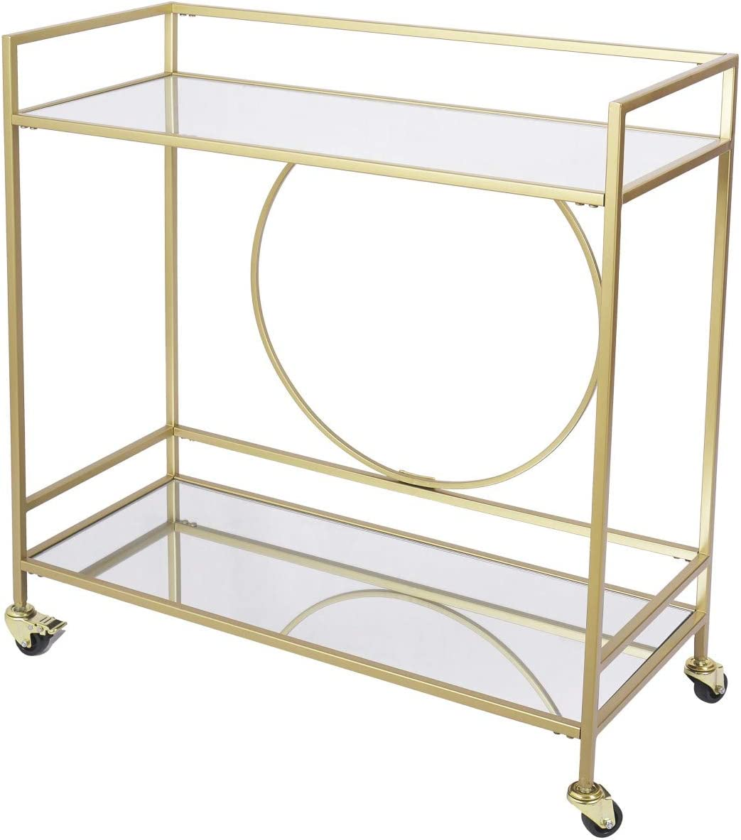 Bar Cart with 2 Mirrored Shelves, Durable Wine Cart with Casters, Suitable for Kitchen, Club, Living Room, Antique Gold Finish (36x15x38inch Gold)