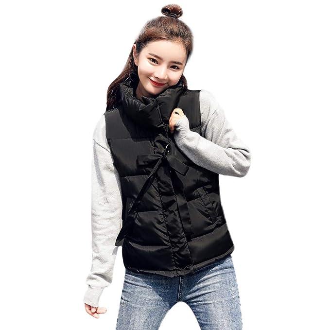 e108f07d886 MODOQO Women s Down Coat Vest Sleeveless Cotton Jackets Outerwear Overcoat(Black  ...