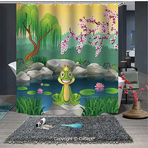 - SCOXIXI Water Repellent and Washable Shower Curtain,Fairytale Inspired Cute Little Frog Prince Near Lake on Moss Rock with Flowers Image,for Bathroom(70.86
