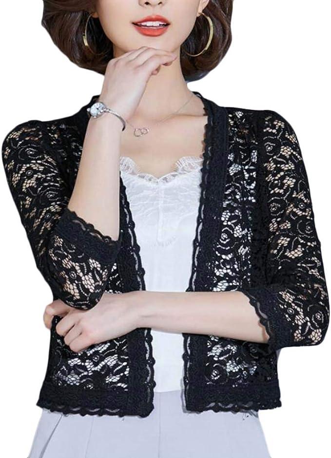 XINHE Women Lace Oversized Capes Long Sleeved Cropped Bolero Shrug