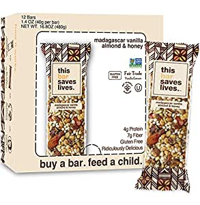 This Bar Saves Lives, All-Natural Gluten Free Whole Food Energy Snack Bar- High Fiber Health Snack, Dairy Free, Kosher, Fair Trade and Non GMO Madagascar Vanilla Almond & Honey, 1.4 Ounce, 12 Bars