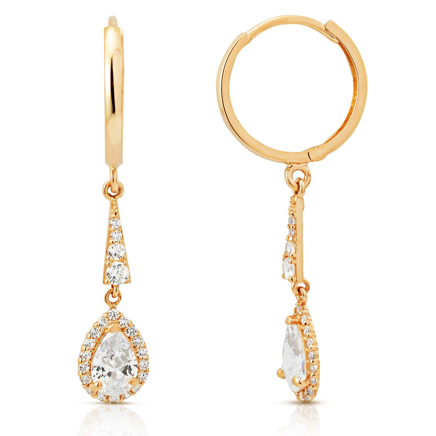 Large Pear Shaped Center CZ Halo Dangling Earrings in 14K Yellow Gold
