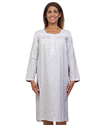 dfc2aa4782a69 Silvert's Womens Flannel Adaptive Hospital Gowns Open Back Nightgowns at  Amazon Women's Clothing store: