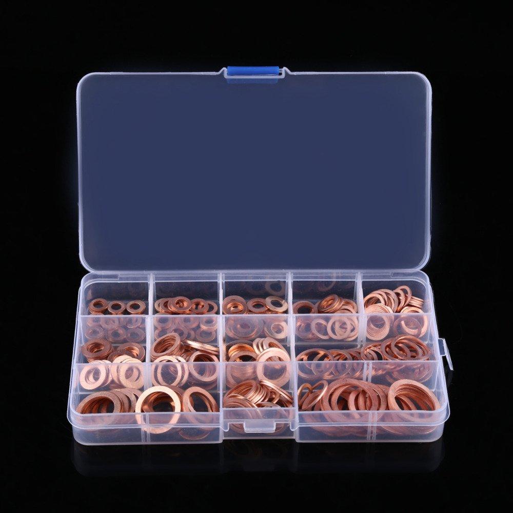 TOOGOO 280pzs Juego de junta arandela de cobre clasificado profesional Kit de surtido de sellos de anillo plano M5-M20 con caja para accesorios de hardware