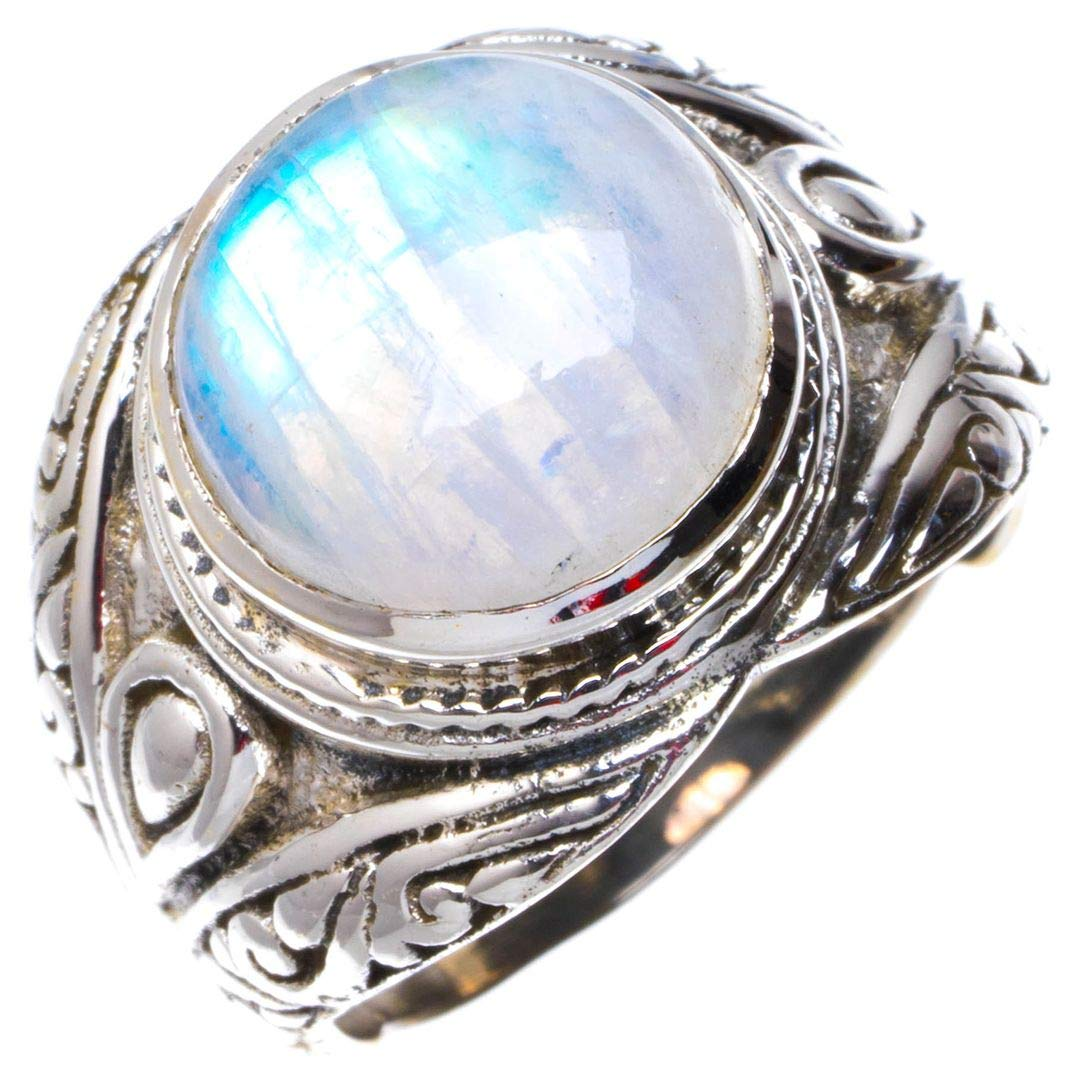 Natural Rainbow Moonstone Handmade Unique 925 Sterling Silver Ring 6.5 B1148