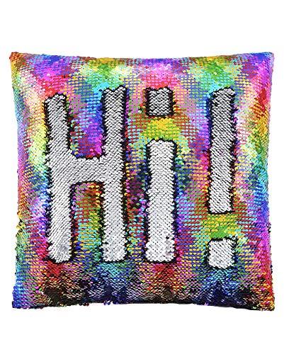ANKIT Mermaid Pillow Reversible Sequin Pillow That Changes Color - Holographic Rainbow Silver Flip Sequin Pillow -