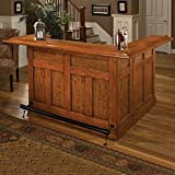 Hillsdale Furniture 62576AXOAK Classic 78″ Large Bar with 12 Wine Bottle Storage Side Bar Foot Rest China Oak and Wood Veneer MDF Construction in Oak