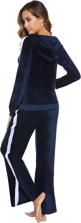 Abollria Damen Trainingsanzug Samtweich Trainingsanz/üge Velours Freizeitanzug Jogginganzug Sportanzug Beil/äufig Sportjacke Kapuzenpullover Fitness Kapuzen Hoodie