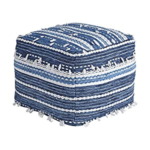 Ashley Furniture Signature Design – Anthony Pouf – Comfortable Footrest & Ottoman – Contemporary – Blue/White