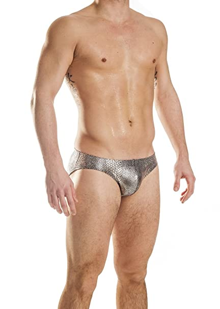 mens silver anaconda counter pouch bikini swimsuit by gary majdell sport size small amazon    mens print contour pouch bikini swimsuit by gary      rh   amazon