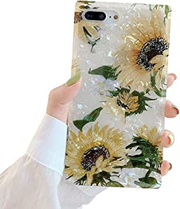 WEDO Compatible with iPhone 8 Plus Case, iPhone 7 Plus Square Case Bling Shell Sunflower Pattern Slim Soft Silicone Shockproof Bumper Cover Cute Protective Case (Sunflower)