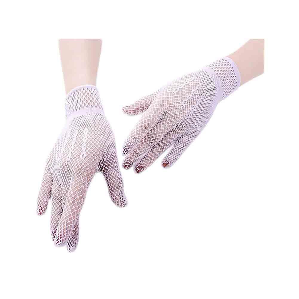 U2BUY Womens Wrist Length Fishnet Gloves UV Protection Mesh Glove Wedding Party Black YFL180528A072