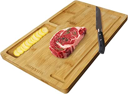 HHXRISE Organic Bamboo Cutting Board for Kitchen with Tray, with 2 Built-in Compartments and Juice Grooves, Chopping Board Serving Tray, Carving Board, BPA Free