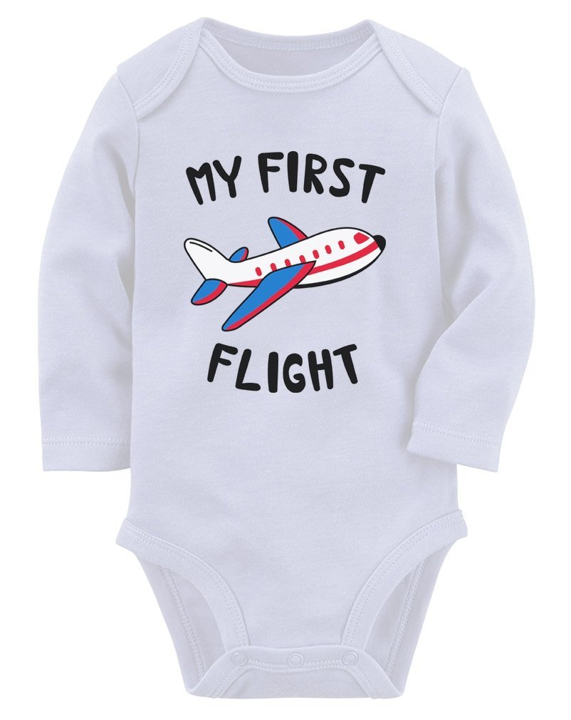 Tstars My First Flight Funny Vacation Holiday Baby Boy/Girl Baby Long Sleeve Bodysuit
