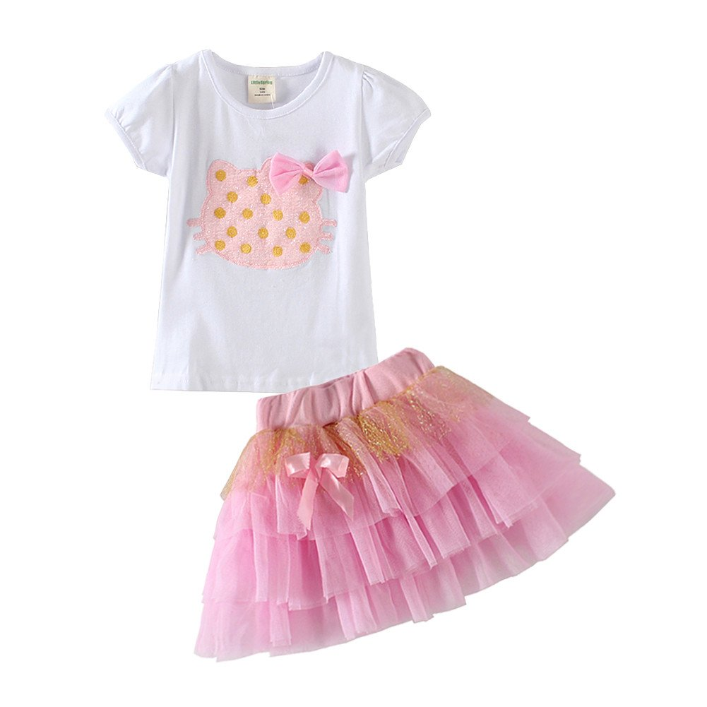 Mud Kingdom Little Girls Outfits Pink Cat Summer 3T