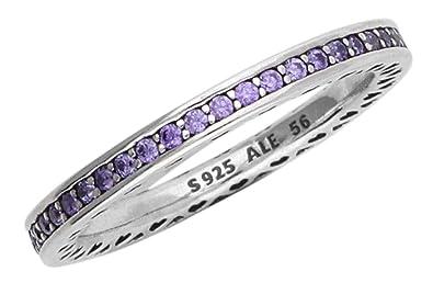 8e4d0096c Pandora Radiant Hearts Ring, Lavender Enamel & Clear CZ, 6 US, 52 Euro