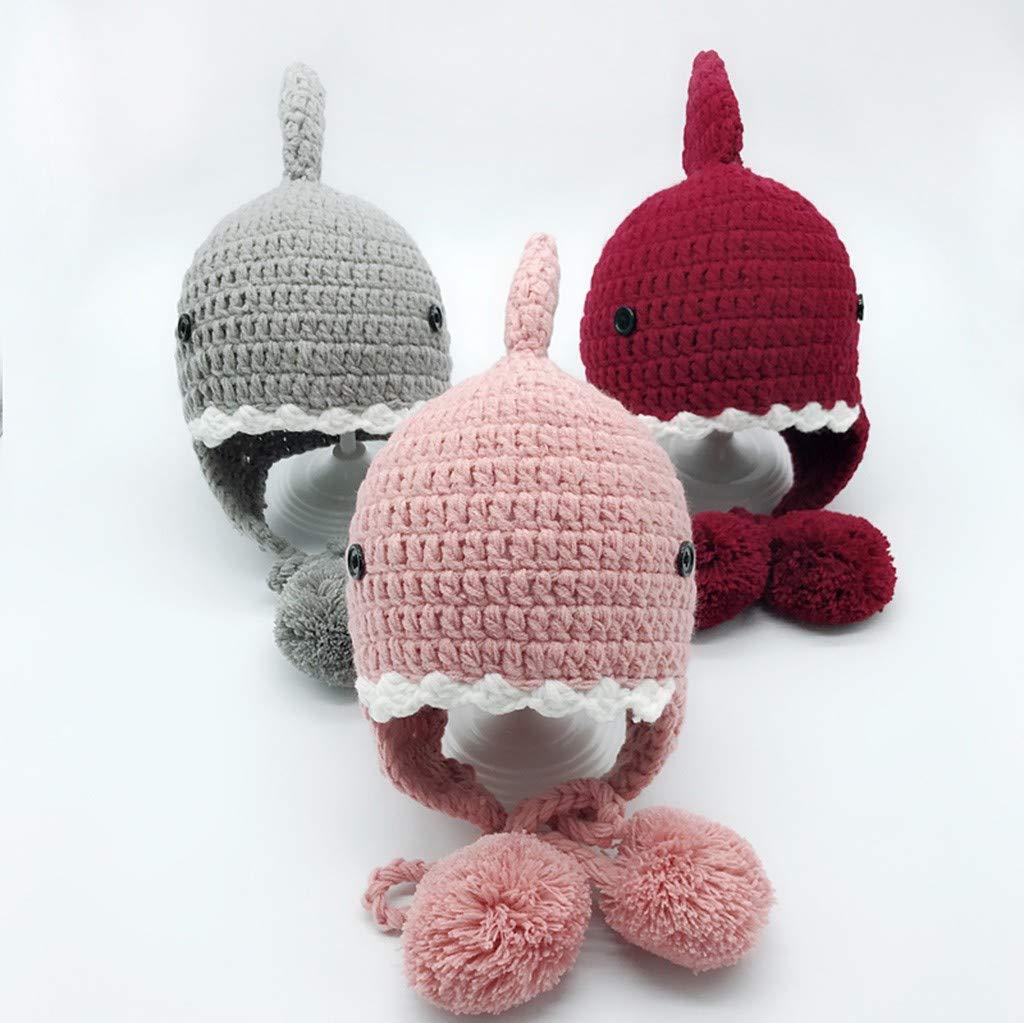 Toddler Hairball Cap,Wokasun.⛱⛱ Baby Kids Winter Warm Cartoon Shark Knitted Hat