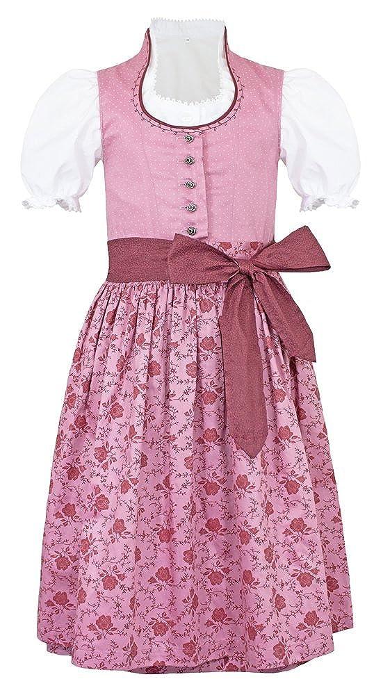 Turi Landhausmode Kinder Dirndl Nadine mit Schneewittchenkragen M821023 - Rosa - Trachtenkleid Schürze Bluse Oktoberfest Kirchweih Blumen Mädchen