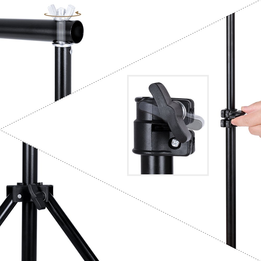 SH Background Stand, 6.5 x 10FT Heavy Duty Background Stand, 2x3M Backdrop Support System Kit with Carry Bag for Photography Photo Video Studio,Photography Studio by SH (Image #5)