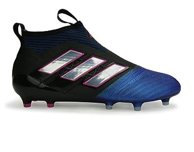 adidas Men s Ace 17+ Purecontrol Fg Core Black White Blue Soccer Shoes - 835b2d6016