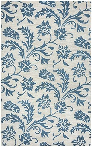 Rizzy Home Arden Loft-Crown Way Collection Wool Area Rug, 5 x 8 , Natural Teal