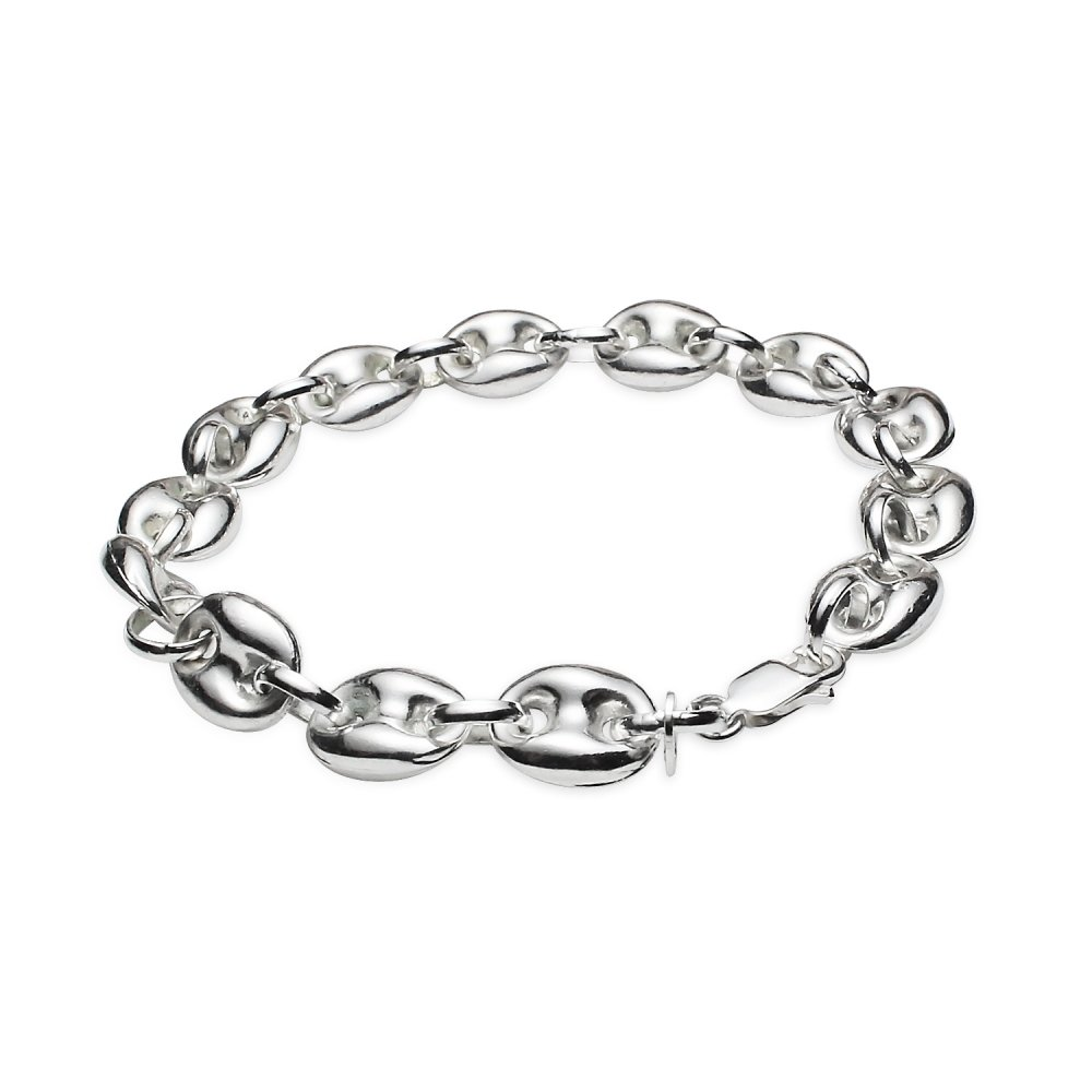 Sterling Silver High Polished Puffed Anchor Mariner Chain Bracelet, 7 Inches by Hoops & Loops (Image #3)