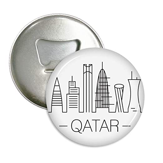 Dibujo Ciudad Qatar Landmark redondo abridor de botellas nevera ...
