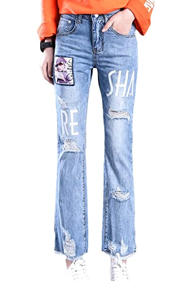 84c3c1419c SK Studio Womens Boyfriend Jeans Distressed Patchwork Jeans at ...