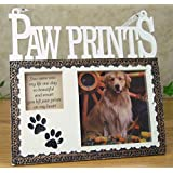 Pet Memorial Picture Frame Plaque - Resin Frame with Photo Opening and Loving Message Paw Prints You Came Into My Life One Day So Beautiful and Smart You Left Paw Prints On My Heart - Design That Goes with Any Decor - 7 Inch