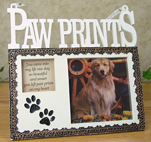 Pet Memorial Picture Frame Plaque - Resin Frame with Photo Opening and Loving Message Paw Prints On My Heart - Design That Goes with Any Decor - 7 Inch (Heart Message Plaque)