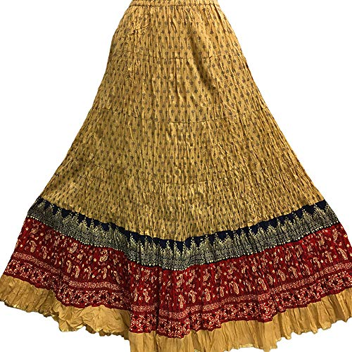 Indian Crushed Crinkled Gauze Cotton Boho Hand Block Printed Gypsy Long Maxi Skirt No111 (Beige/Red)