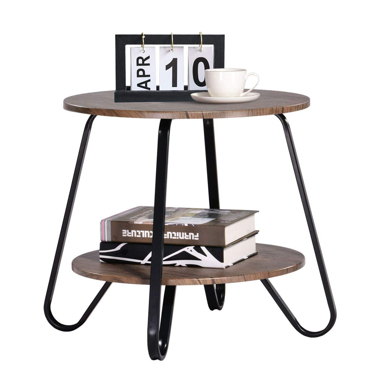 Vintage 2 Tiers Living Room End-Table Modern Industrial Nightstands for Bedroom Round Sofa Side-Table Wood Metal, Walnut by Coavas
