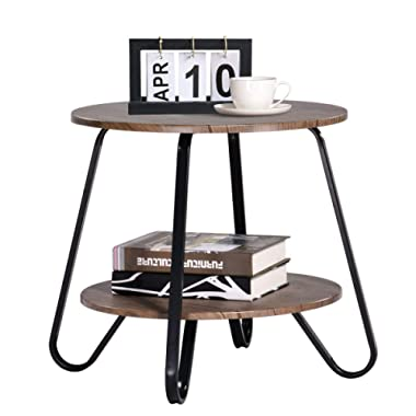 Vintage 2 Tiers Living Room End-Table Small Modern Industrial Nightstands for Bedroom Round Sofa Side-Table 18.1 x 18.1 x 17.7 Inches, Brown