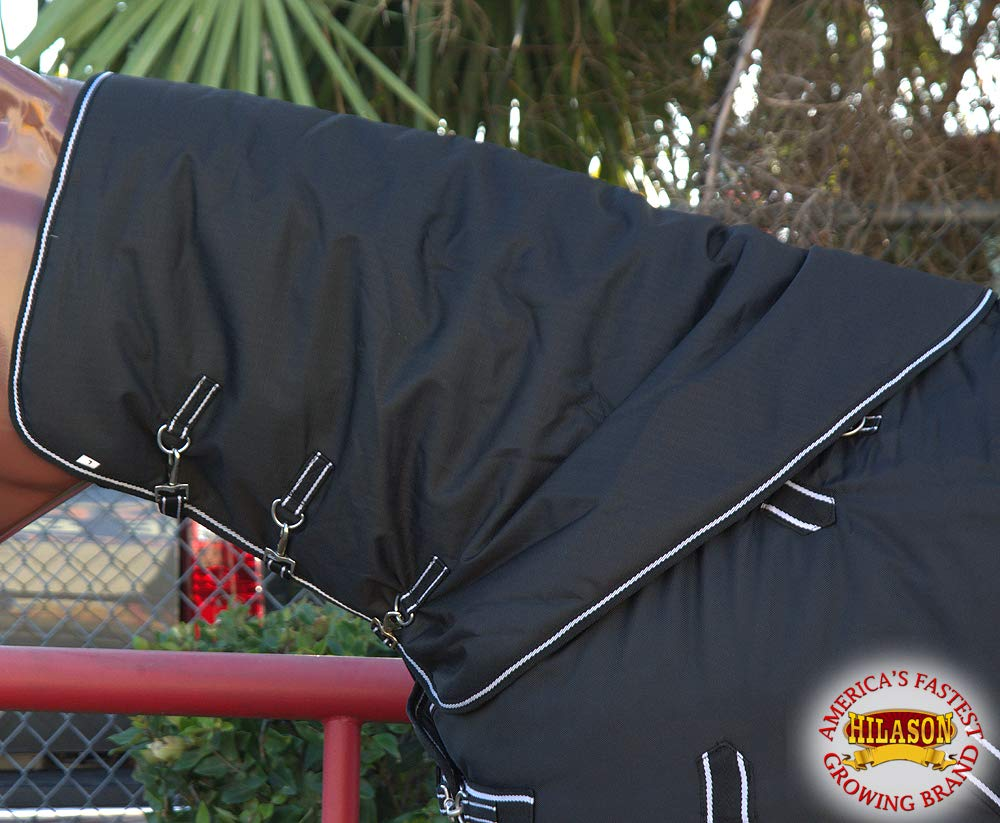HILASON MED 1200D Winter Waterproof Poly Turnout Horse Hood Neck Cover Black
