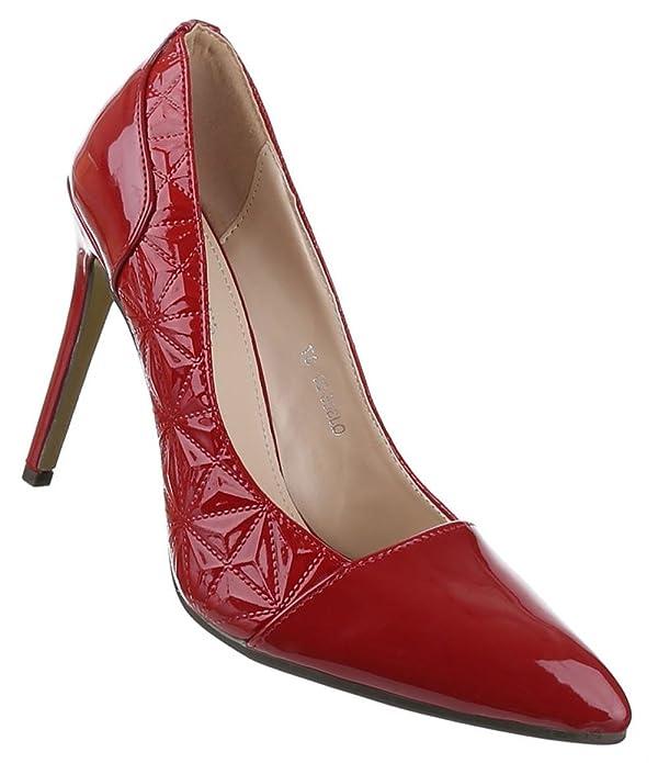 Klassische Frauen High Heels mit 11 cm Stiletto-Absatz in Schwarz und Größe 36 Lacklederoptik bu85B1x
