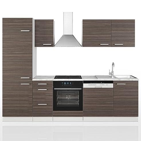 VICCO Küche 270 cm Küchenzeile Küchenblock Grau Einbauküche ...