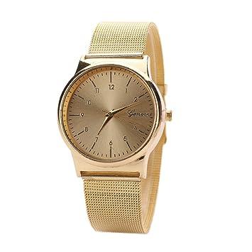 -Reloj de pulsera de acero inoxidable, analógico, de cuarzo, de mujer de