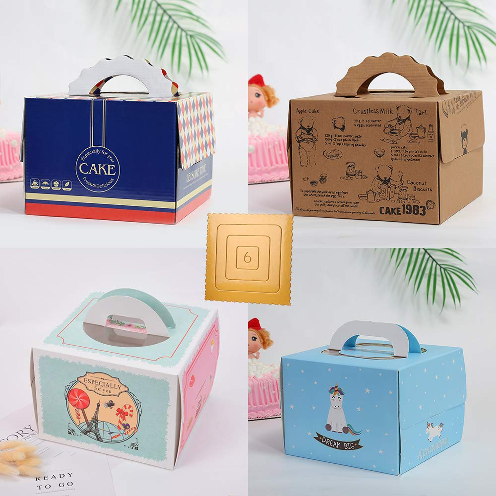 12 Pack Bakery/Dessert/Cake Box With Gold Board (6'' (Box 8''x8''x6''), Mixed A) by Starry Home